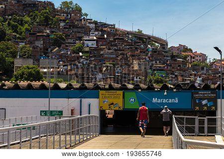 RIO DE JANEIRO, BRAZIL - CIRCA JAN 2014: Maracana station and the Favela on the background in Rio de Janeiro, Brazil