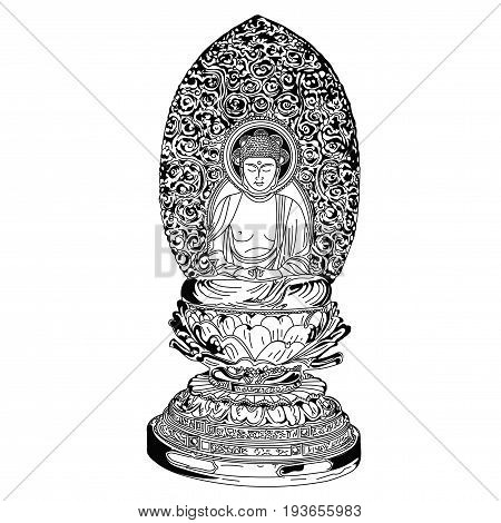 Beautiful statue of a Buddha figure. A drawn black and white element. Medallion yoga Indian Arabic lotus Buddha was a wise man. His teachings founded Buddhism.