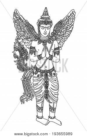 Thai oriental mythical creature female with angel wings vector