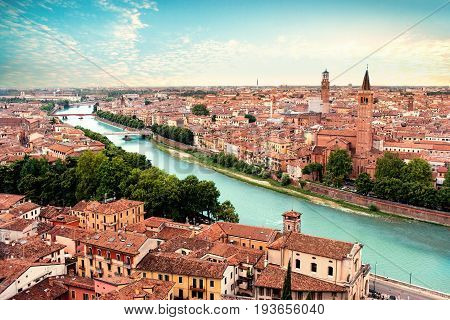 Verona Italy. Panoramic view to Bridge Ponte Pietra in Verona. Beautiful Sunny summer day panorama and blue sky may use as postcard or wall paper