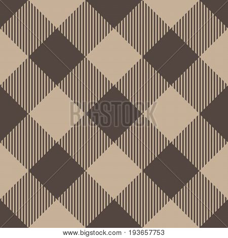 Lumberjack plaid pattern in beige color. Seamless vector pattern. Simple vintage textile design.
