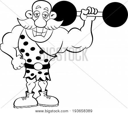 Black and white illustration of a strongman holding a barbell.