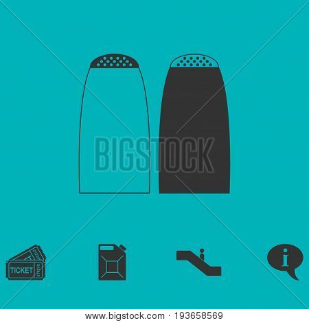 Salt and pepper shakers icon flat. Simple vector symbol and bonus icon
