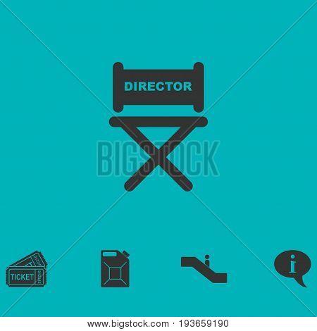 Director chair icon flat. Simple vector symbol and bonus icon