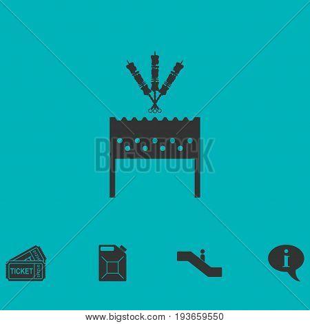 Barbecue grill with shashlik icon flat. Simple vector symbol and bonus icon