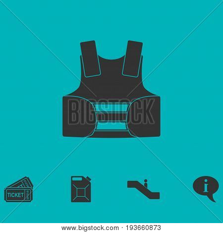Life vest icon flat. Simple vector symbol and bonus icon