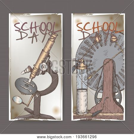 Two color banners with school related sketches featuring microscope and electric generator model aka Wimshurst influence machine. School memories collection. Great for school, education, retro design.