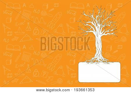 Cover design with hand drawn tree education icons and symbols for tutorial cover notebook sketchbook album copybook. Cover A5 template with back and empty space. EPS 10.