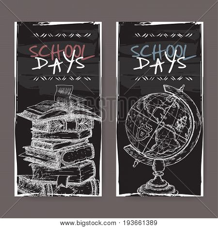 Two vertical banners with hand drawn school related sketches featuring books and globe on blackboard background. School memories collection. Great for school, education, book shop, retro design.