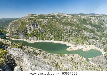 Panoramic photo of a Donnell Lake. Lake and a dam are located on Stanislaus river. California, USA