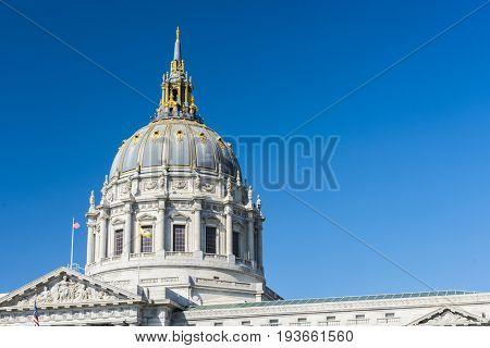 Detail of San Francisco city hall cupola. California