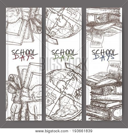 Three banners with hand drawn school related sketch. Features backpack, globe, book stack. School memories collection. Great for school, education, book shop, retro design.
