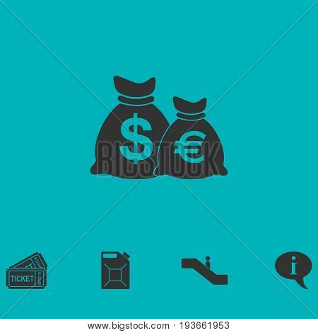 Money Bags with currency symbols icon flat. Simple vector symbol and bonus icon