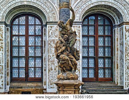 Statue Near Ball Game Hall In The Royal Garden, Prague