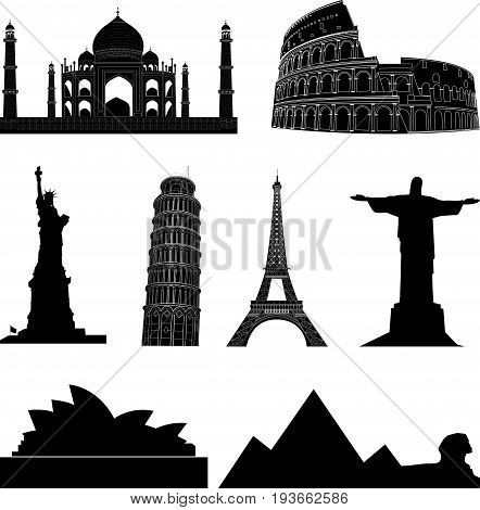 Vector set of the world sights and landmarks