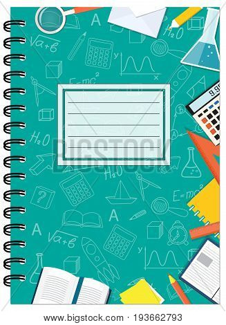 Cover design with education stationery icons and hand drawn symbols for tutorial cover notebook sketchbook album copybook. Cover A5 notebook template with spiral and empty space. EPS 10.