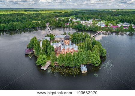 Aerial view of Svyato-Vvedenskiy Ostrovnoy monastery located on the small island on Vvedenskoye lake in Pokrov Vladimir oblast Russia