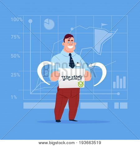 Business Man Hired On Vacancy Recruitment New Job Position Concept Flat Vector Illustration