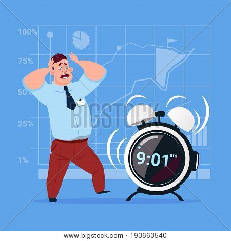 Scared Business Man With Alarm Clock Deadline Time Management Concept Flat Vector Illustration