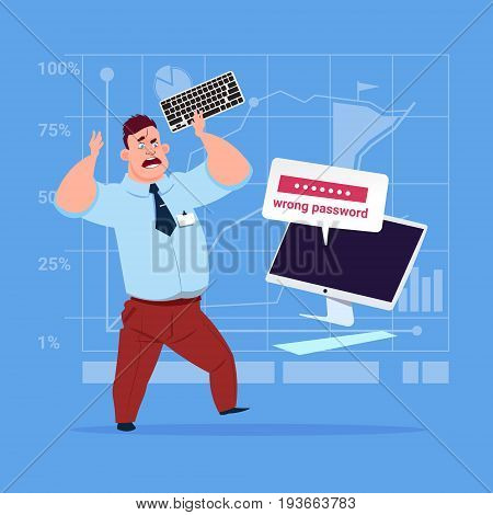 Angry Business Man Inputting Wrong Password Using Computer Problem With Access Concept Flat Vector Illustration