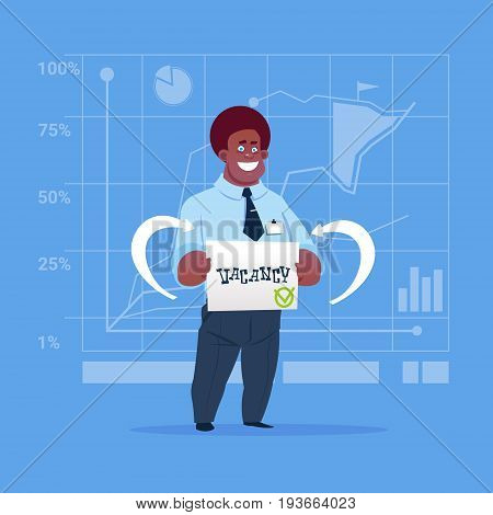 African American Business Man Hired On Vacancy Recruitment New Job Position Concept Flat Vector Illustration
