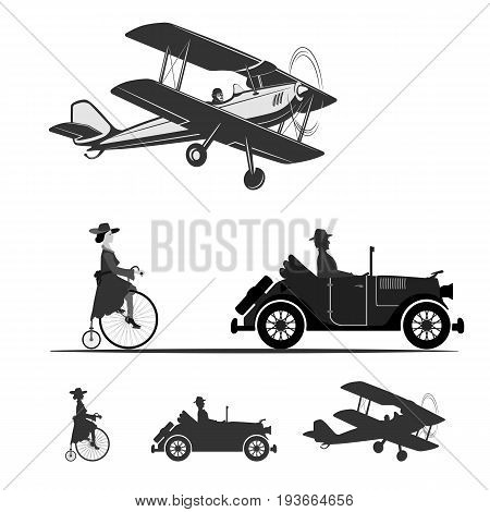 The beautiful technique of our ancestors A vintage airplane, a car and a girl on an old bicycle.