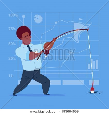 African American Business Man Holding Fishing Tackle Search Success Concept Flat Vector Illustration