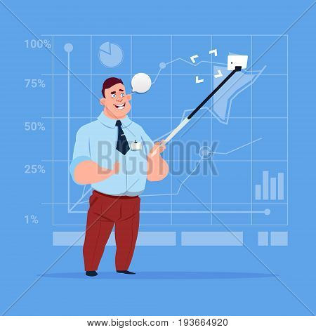 Business Man Taking Selfie Photo With Stick On Cell Smart Phone Flat Design Vector Illustration