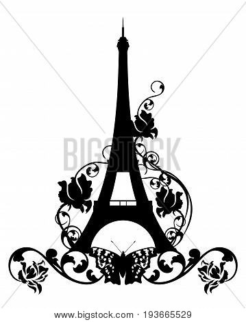 eiffel tower among rose flowers and butterflies - black vector silhouette