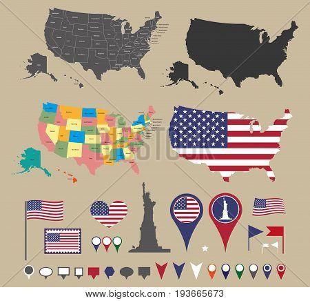 United States map set and national symbolic