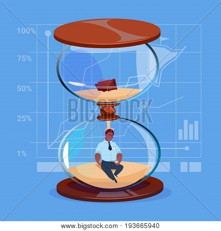 African American Business Man Inside Sand Watch Clock Deadline Time Management Concept Flat Vector Illustration