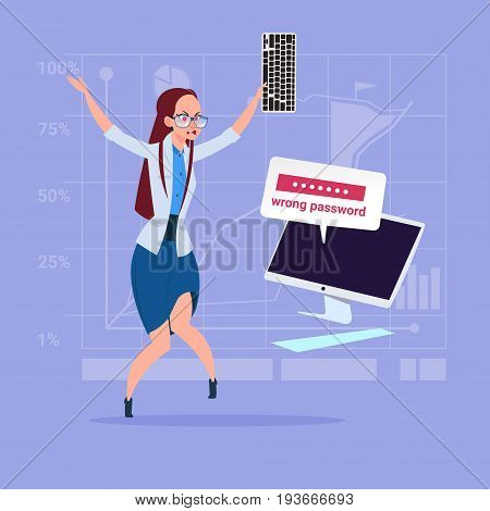 Angry Business Woman Inputting Wrong Password Using Computer Problem With Access Concept Flat Vector Illustration