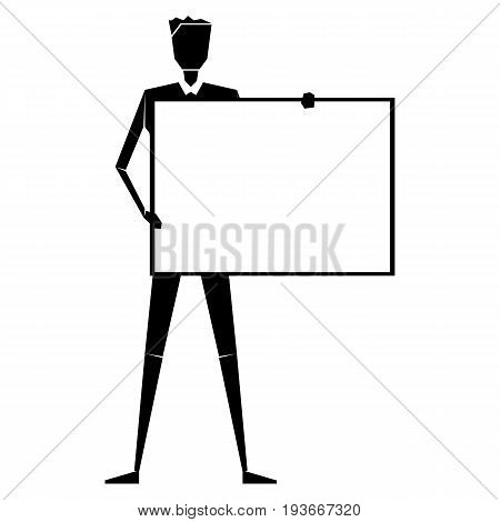 Drawn man with a poster to paste the text. Simple vector illustration.