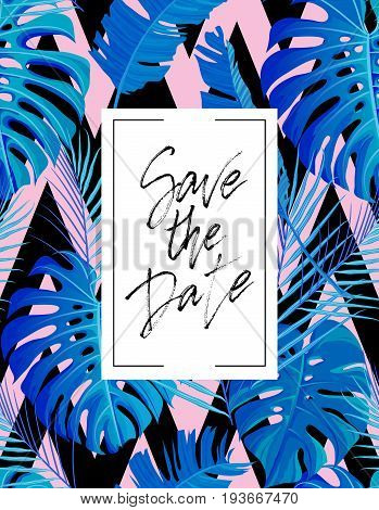 Save the date wedding lettering postcard. Wedding poster with modern brush calligraphy and tropical palm leaves seamless pattern. For cards, banners, posters. Vector illustration stock vector.