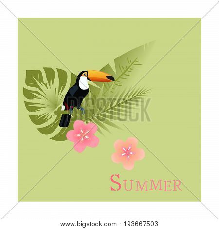 Summertime. Toucan with palms and tropical flowers in watermelon colors.