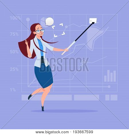 Business Woman Taking Selfie Photo With Stick On Cell Smart Phone Flat Design Vector Illustration