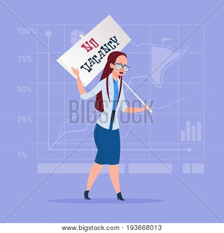 Business Woman Hold No Vacancy Poster Unemployment Concept Flat Vector Illustration