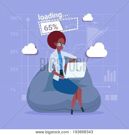 African American Business Woman Use Laptop Computer Loading Software Applications Media Social Network Communication Businessman Flat Design Vector Illustration