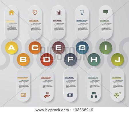 10 steps presentation template. 10 steps timeline presentation template. EPS10.