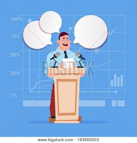 Businessman Speaker Candidate Public Speech Conference Meeting Business Seminar Flat Vector Illustration