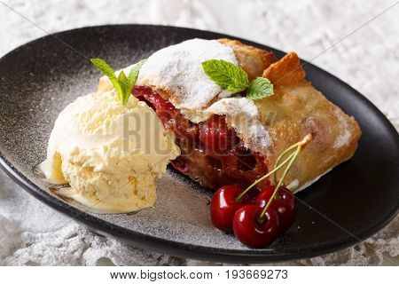 Austrian Cuisine: Cherry Strudel With Vanilla Ice Cream Close-up On A Plate. Horizontal