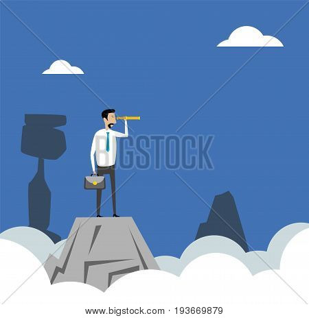 Businessman standing on top of the mountain look at spyglass looking for success.