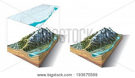Vector illustration of 3D piece of land with topographic contour lines on map