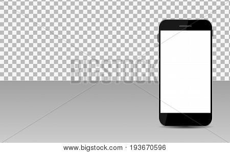 Realistic Mobile Phone with Abstract Wallpaper on Screen on Transperent Background. Vector Illustration EPS10