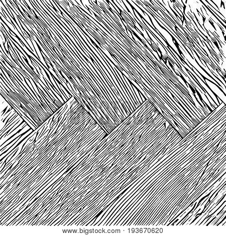Parquet, black and white isolated vector illustration