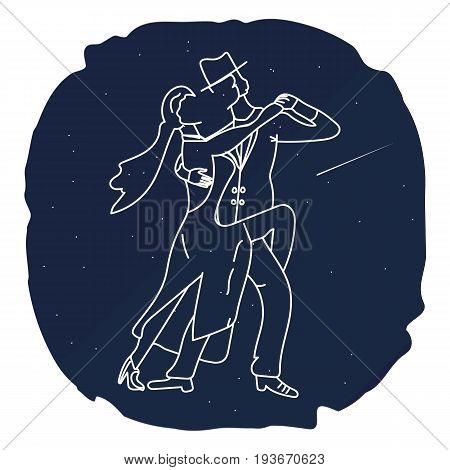 Couple man and woman dancing tango in the night sky. Star, comet, dance silhouette. Flat. The Image Vector. T-shirt with a print. Poster.