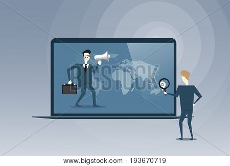 Business People Virtual Meeting Partners Talking Using Laptop Computer Digital Cooperation Concept Vector Illustration