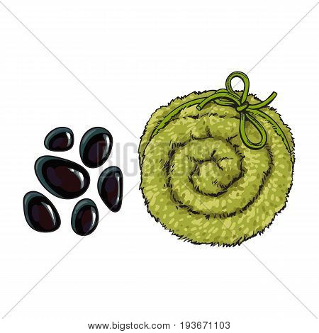 Black basalt massage stones and Top view of rolled up fluffy green towel, spa salon accessory, cartoon vector illustration on white background. Realistic hand drawing of towel roll, spa salon