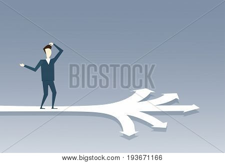 Business Man Standing On Crossroads Choose Direction Way Arrow Flat Vector Illustration