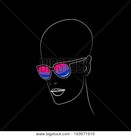 Stylized face with glasses using original colors for bisexual. Unconventional sexual orientation for LGBT gay and lesbian parade. Vector t-shirt print design